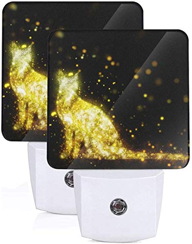 Paquete de 2 lámparas LED de luz nocturna con impresión de gato brillante dorado con atardecer a amanecer Auto Motion Senor para leer cuarto de baño dormitorio guardería decoración, Reino Unido Jack
