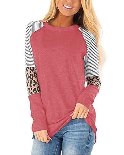 CNFIO Camisetas Mujer Manga Larga Leopardo Raya Cuello Redondo Blusas para Mujer Suelta Tops Mujer Fiesta rosa XL