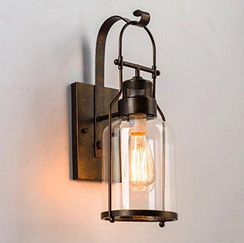 lampe de mur rural chambre couloir chevet en verre Creative bar de style rétro éclairage industriel