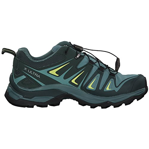 Salomon Women's X Ultra 3 GTX Hiking Shoes, ARTIC/Darkest Spruce/Sunny Lime, 5.5