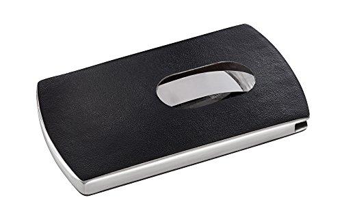 """SIGEL VZ121 Porta-tarjetas de visita """"Snap"""", aspecto piel, negro/plata, para hasta 12 tarjetas (màx. 91x57 mm)"""