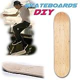 voloki  8 Capas 8 Pulgadas en Blanco Tabla de Skate DIY, monopatín de Patinaje Personalizado de Madera Natural, Estructura de Arce Chino de 8 Capas para Principiantes y...