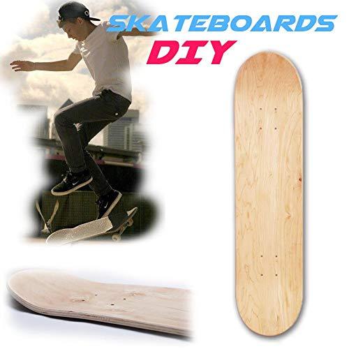 voloki  8 Capas 8 Pulgadas en Blanco Tabla de Skate DIY, monopatín de Patinaje Personalizado de Madera Natural, Estructura de Arce Chino de 8 Capas para Principiantes y Profesionales consistent