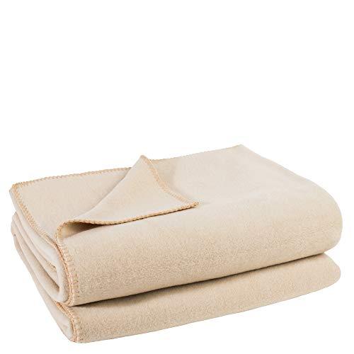 Soft-Fleece-Decke – Polarfleece-Decke mit Häkelstich – flauschige Kuscheldecke – 180x220 cm – 020 cream - von 'zoeppritz since 1828'