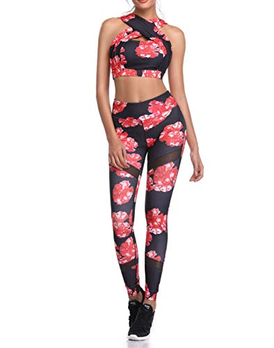 Damen Yoga Trainingsanzug Bedruckte Ärmellose Neckholder Weste Crop Top Hohe Taille Leggings Outfits Frauen Sport Set Zweiteiliges Stretch-Fit Gym Wear Set (A3, L)