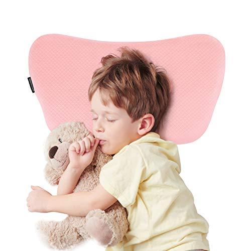 Bammax Babykissen, Kinder Kopfkissen gegen Plattkopf Memory Schaum Kinder Kissen, Weiches Atmungsaktives Baby Kopfkissen für 2-8 Jahre Alt Kleinkind, Rosa