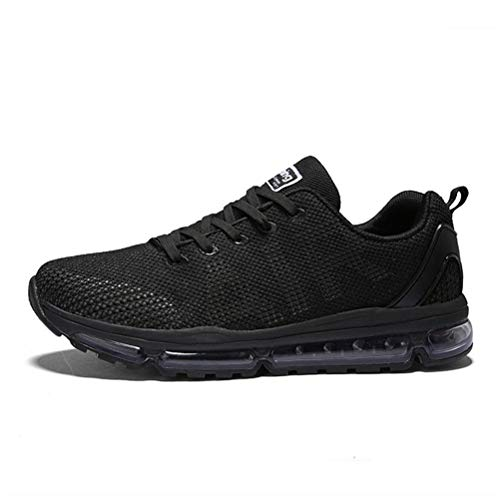 Axcone Homme Femme Air Running Baskets Chaussures Outdoor Running Gym Fitness Sport Sneakers Style Respirante,Noir,45 EU