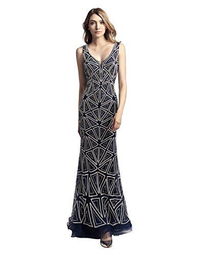 Clearbridal Damen Luxuar Abendkleid Ballkleid Maxikleid Bodenlang Elegant mit Glitzersteinen Marineblau CLX423 Gr.54