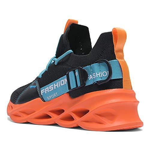 Running Shoes Men Slip on Cool Comfortable Light Best Keep Athletic Sport Gym Tennis Outdoor Run Sneakers for Mens Black Orange 43