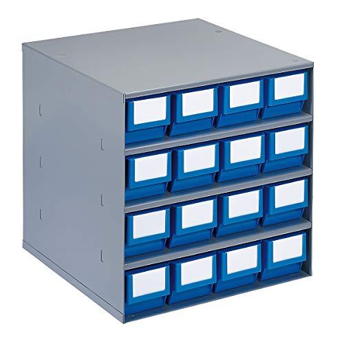 Bloc-tiroir, charge max. 75 kg - h x l x p 395 x 380 x 400 mm, 16 tiroirs - tiroirs bleus - bloc bloc transparent bloc-tiroirs blocs blocs transparents blocs-tiroirs compartiment pour petites pièces compartiments pour petites pièces système de stockage