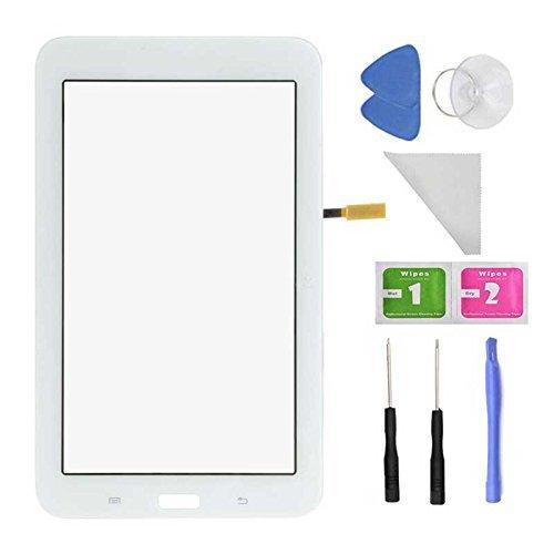 Ricambio vetro anteriore touch screen, bianco per Samsung SM-T110, T110, Galaxy Tab 3Lite 7.0(senza foro per auricolare) + adesivo preinstallato con strumenti