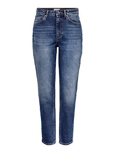 ONLY Damen ONLVENEDA Life MOM Jeans REA844 NOOS Hose, Dark Blue Denim, 32 cm (Large)