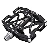 MZYRH Mountain Bike Pedals, Ultra Strong Colorful CNC Machined 9/16' Cycling Sealed 3 Bearing Pedals(Black 3 Bearings)