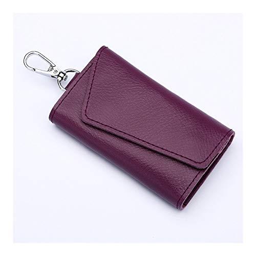 Gzjdtkj Portachiavi per Auto Uomini Portachiavi Pelle dell'organizzatore del Sacchetto del Sacchetto di Chiave dell'automobile del Raccoglitore Chiave di Caso Mini Card Bag Black (Color : Purple)