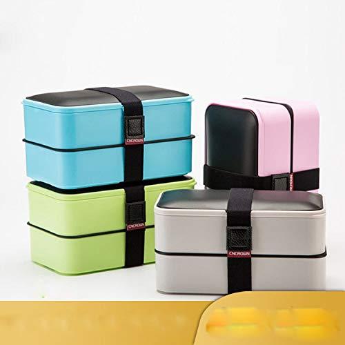 DCGSADFW Leakproof lunchbox met 2 lagen en de partitie, 185 x 109 x 102 mm, 1200 ml, herbruikbare bestekbak, magnetron, koelkast, vaatwasser, kinderen volwassenen
