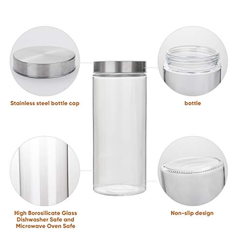 Glass Kitchen Storage Canister Jars Set with Stainless Steel Lids For The Kitchen-27/44/57/71 OZ.(4-pack Assorted)
