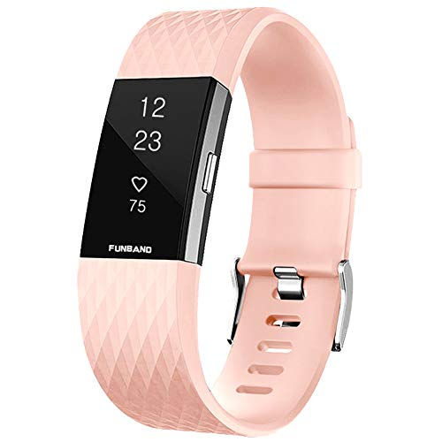 FunBand Correa para Fitbit Charge 2, Edición Especial Soft Silicona Deportes Recambio de Pulseras Ajustable Reemplazo Accesorios para Reloj Fitbit Charge 2 Pulsera de Actividad Pequeño y Grande
