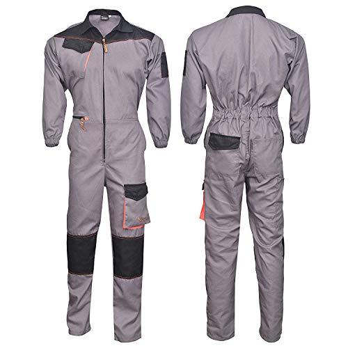 Norman grau/schwarzes Herren Arbeitskleidung Latzhose Monteuranzug Overalls Mechaniker Blaumann - Grau/Schwarz, X-Large