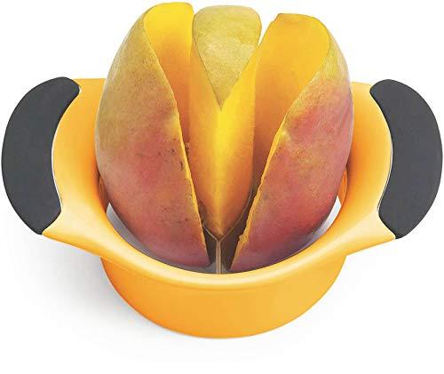 Mango Slicer,Peeler and Pit Remover Tool,Blade shape perfect to peel mango skin all,Mango Splitter,Fruit Slicer Cutter Pitter, Non-Slip Silicon Ergonomic Handles,BPA Free Plastic Body, Sturdy Design
