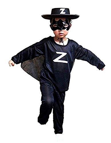 Costume Zorro - déguisement - carnaval - Halloween - épéiste - chevalier masqué - couleur noire - enfant - taille L - 8-10 ans - idée cadeau pour Noël et anniversaire
