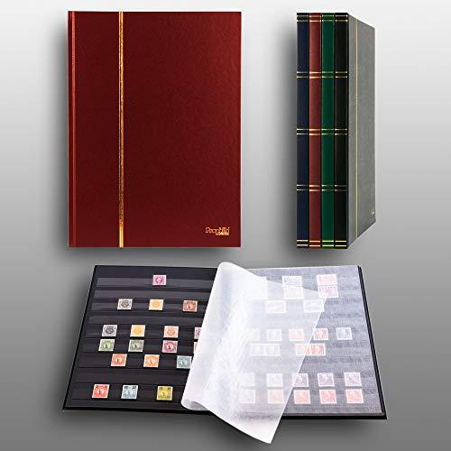 Prophila Collection Album pour Timbres, 16 Pages, intérieur Noir (couv. Rouge)