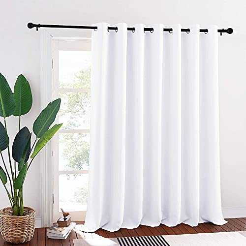 RYB HOME Patio Curtains White - Room Darkening Curtains Privacy Insulated Slider Curtains for Bedroom Living Room Sliding Glass Door Bay Window, 100 inch Wide x 95 inch Long, White