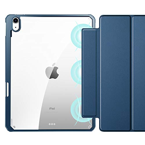 Case Compatible for Ipad Air 4 2020 10.9 Inch [Pencil Holder] [Detachable Front Cover ], Transparent Back with Soft TPU Edge, Smart Trifold Stand Slim Folio Case for Ipad Air 4Th Generation,Navy
