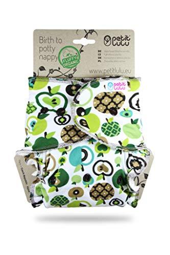 Petit Lulu One Size Höschenwindel (4-15 kg) Druckknöpfe | Fluffy Organic | Bambus natürliche wiederverwendbare Stoffwindeln | Ohne Polyester (Äpfel)