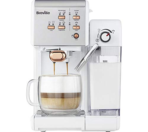 BREVILLE VCF108 One-Touch Coffee Machine (White & Rose Gold)
