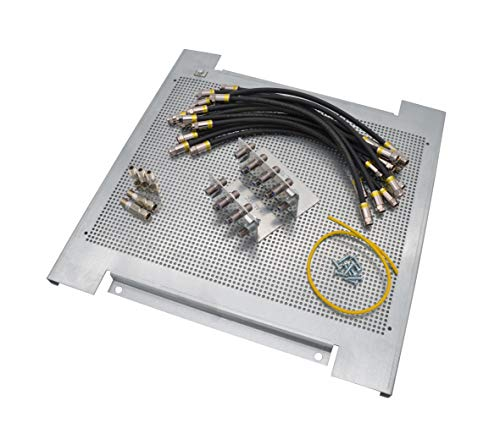 maxx.onLine Sat Montage-Set für 5 in 8 Multischalter, 1 Satelliten und 8 Teilnehmer mit 400x400x18mm Montageplatte, Sat-Überspannungsschutz, Erdungswinkel, Cabelcon 30cm Patchkabel