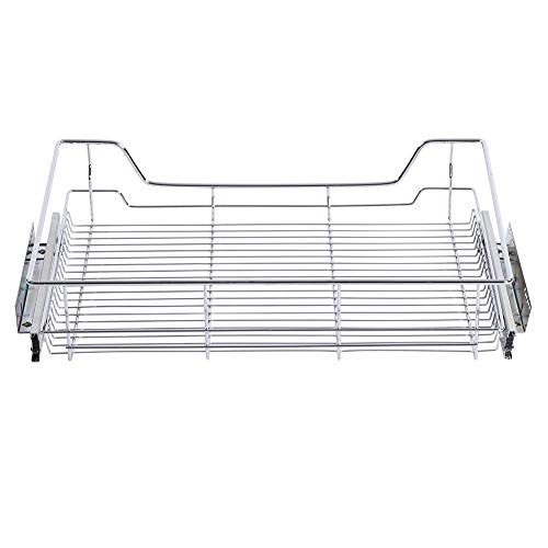 Pull Out Cabinet Shelf, Stainless Steel Pull-out Cabinet Basket Organizer Reusable and Durable Kitchen Sliding Cabinet Drawer for Kitchen Cabinets Cupboards(720MM)