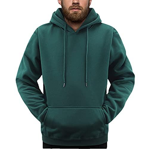 Color puro Hombres Ropa Deportiva Moda Impresión Mens Sudaderas Pullover Hip Hop Hombres, verde oscuro, L