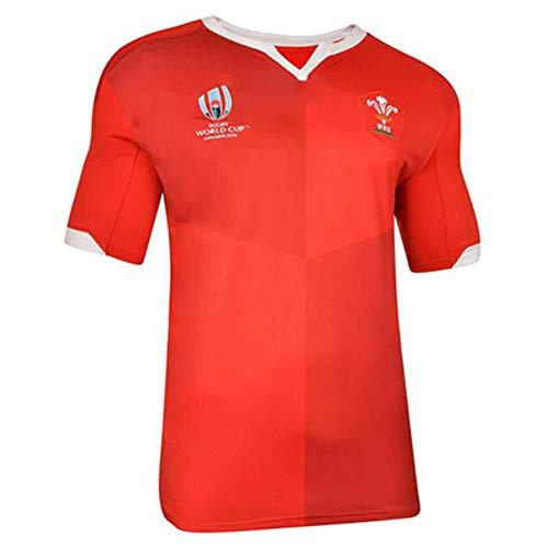 Rugby Trikot 2019 Japan WM Wales Home Fußball Trikot Sportswear Training Jersey Polyester schnelltrocknend atmungsaktiv Geeignet für Studenten Kinder Erwachsene Gr. XXL, rot