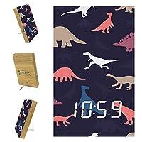 寝室用デジタル目覚まし時計キッチンオフィス3アラーム設定ラジオウッドデスククロック-かわいい恐竜