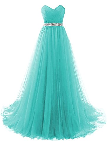 dannifore Aqua Sweetheart Neckline Ruffles Bridesmaid Dresses Long...