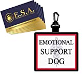 """WORKINGSERVICEDOG.COM """"Emotional Support Dog""""- Clip On Identification Patch Tag – Includes Five ESA Informational Cards – Tag Clips onto a ESA Vest, Harness, Collar, Leash or Carrier"""