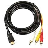 ZYCX123 HDMI a RCA 3 Cable HDMI al Adaptador del convertidor Cable RCA Cable Transmisor de una vía de transmisión de HDMI a RCA 1.5m
