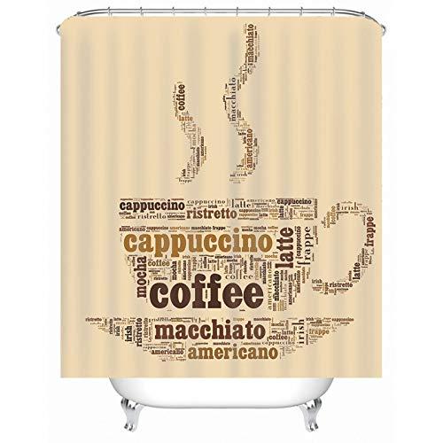 KnSam Duschvorhang, Cappuccino Coffee Muster Bad Vorhang Polyester Badezimmer Dekoration Wandsticker Badvorhang Für Fenster Duschvorhänge 59X79Inch
