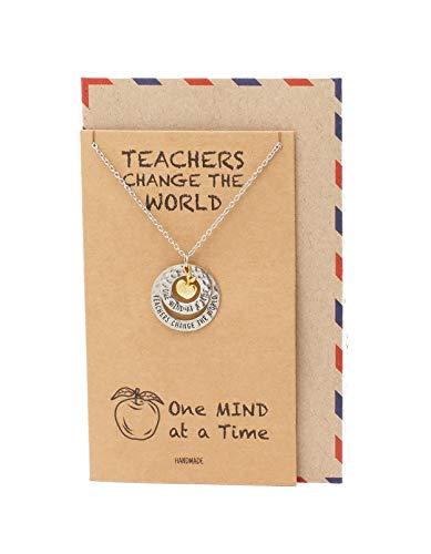 Quan Jewelry Collar con colgante de manzana grabada con 2 círculos, regalo para profesores para mujeres con cita inspiradora en...