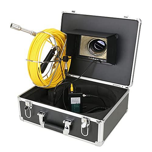 Cámara de video de inspección de tuberías HD 1000TVL con monitor LCD de 7 pulgadas, 12 lámparas infrarrojas, cámara de drenaje de alcantarillado 131 pies/40 m para plomero, propietarios de viviendas