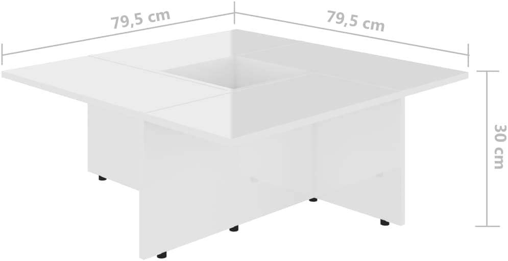 vidaXL Coffee Table Home Interior Living Room Furniture Accent Side Tea End Couch Sofa Laptop Snack Stand Grey 79.5x79.5x30cm Chipboard