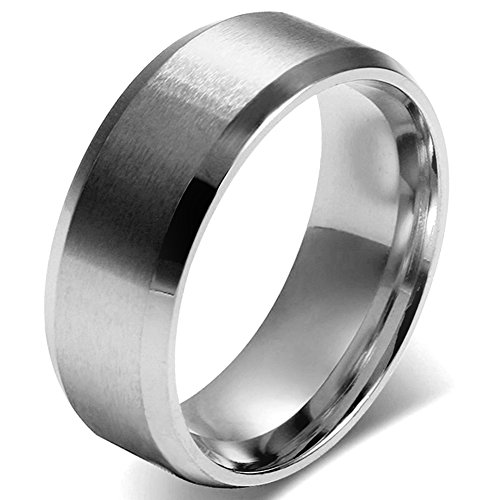 JewelryWe Men 8mm Silver Stainless Steel Brushed Wedding Ring Band Husband Father Gifts (11)