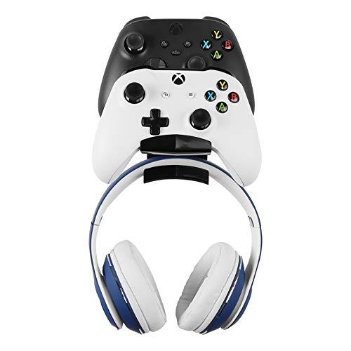 Soporte de pie sin tornillos para mando de gamepad y auriculares, soporte de pared diseñado para auriculares Bluetooth gaming, Xbox One, PS4, PS5, Dualshock, interruptor, PC, serie de acero