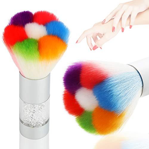 Mwoot Brosse de nettoyage souple pour poudre à ongles gel UV, outil de manucure, Brosse à Ongles Pinceau Enlève Anti Poussière (Argent)