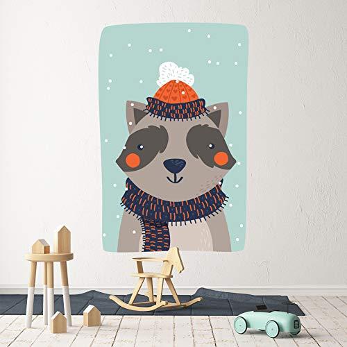 3D-Wandaufkleber / Wandtattoo, Motiv Waschbär Katze 66, Vinyl, selbstklebend, groß, 30,5 x 51 cm