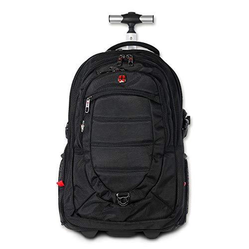 DrachenLeder Rucksack, Reisetasche schwarz Polyester Laptoprucksack Trolley Rucksack New Bags OTD607S, ohne, Schwarz