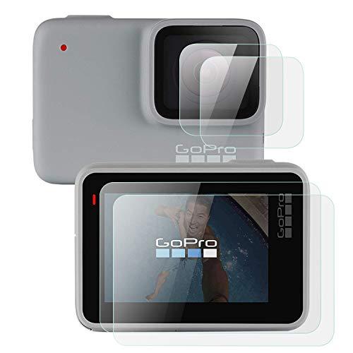 MWOOT 4 Stück Schutzfolie aus Glas für GoPro Hero 7 White und GoPro Hero 7 Silver (Nicht für Black Version),9H Härte Kratzfest Displayschutzglas