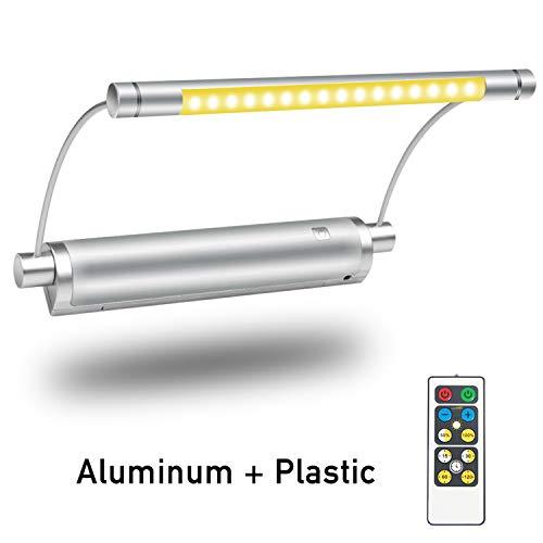 LUXSWAY Luz de imagen inalámbrica con mando a distancia, iluminación de pintura, funciona con pilas, cabeza de luz giratoria de 9 pulgadas, temporizador de apagado automático, 3...