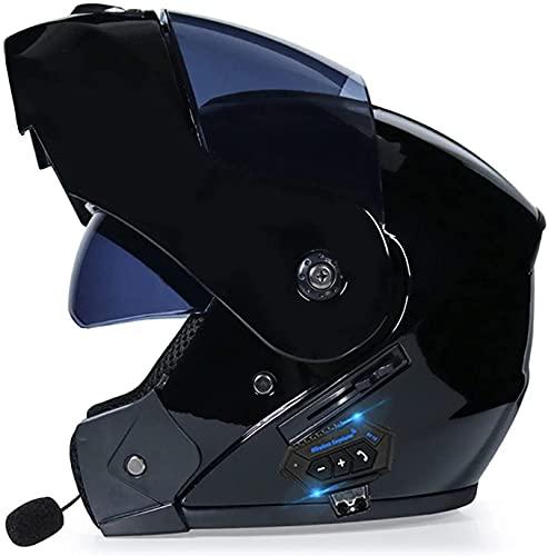 HSWYJJPFB Cascos de Moto Casco de Moto Hombre Casco de Plegable y Modular con Bluetooth Integrado con Casco de protección Modular S-XL para Cuatro Estaciones para s con aprobación Dot/ECE Cascos