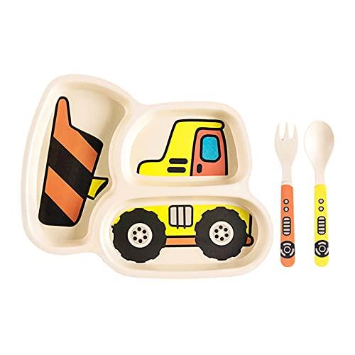 Zhantie Juego de platos de bambú para niños pequeños, vajilla y platos de cena para bebés a prueba de derrames, juego de 3 piezas